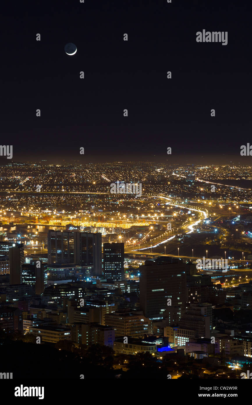 Cape Town city centre with a crescent moon. Cape Town.South Africa Stock Photo