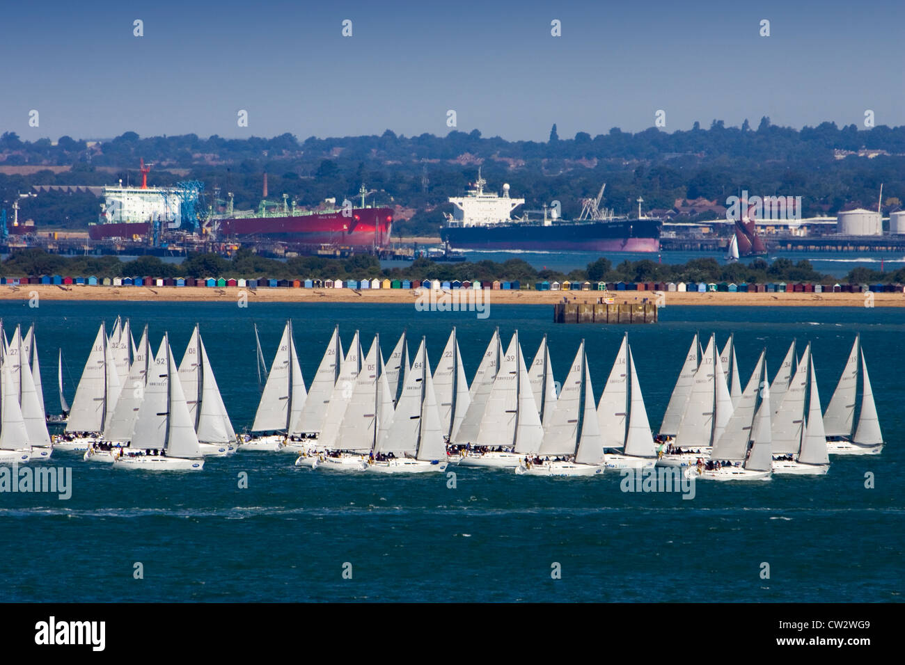 Isle of Wight, Cowes Week  Sunsail Sunfast 37 start - Stock Image