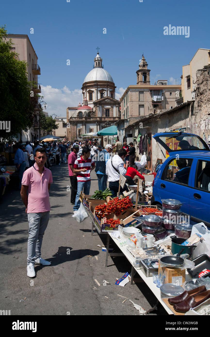 Ballaro Bricabrac  Sunday market Sicily Italy Stock Photo
