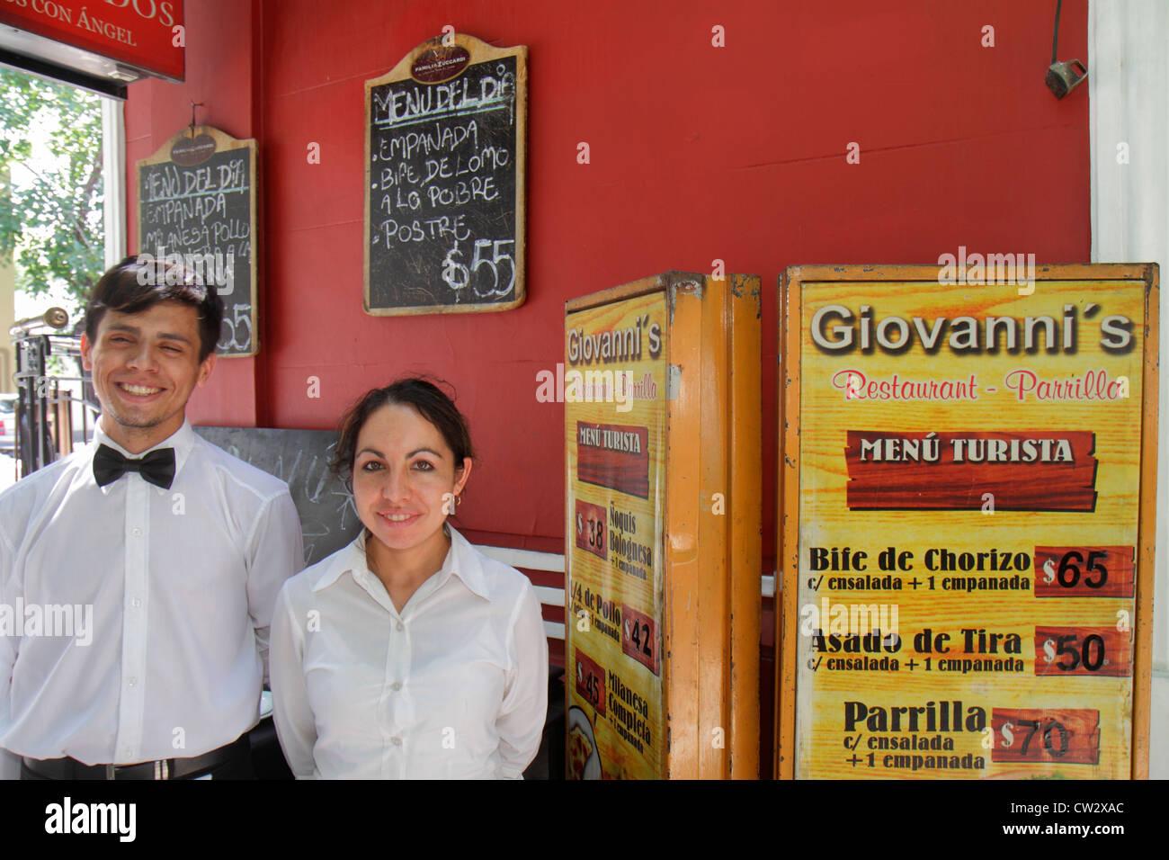 Mendoza Argentina Avenida Sarmiento Giovanni's Restaurant parrilla steak house menu price pesos currency Hispanic - Stock Image