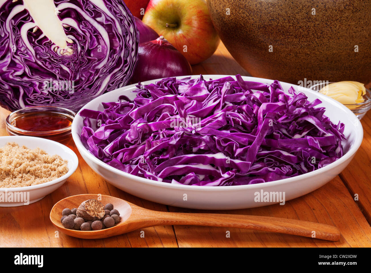Ingredients for spiced red cabbage with apple, delicious with Christmas meats. - Stock Image