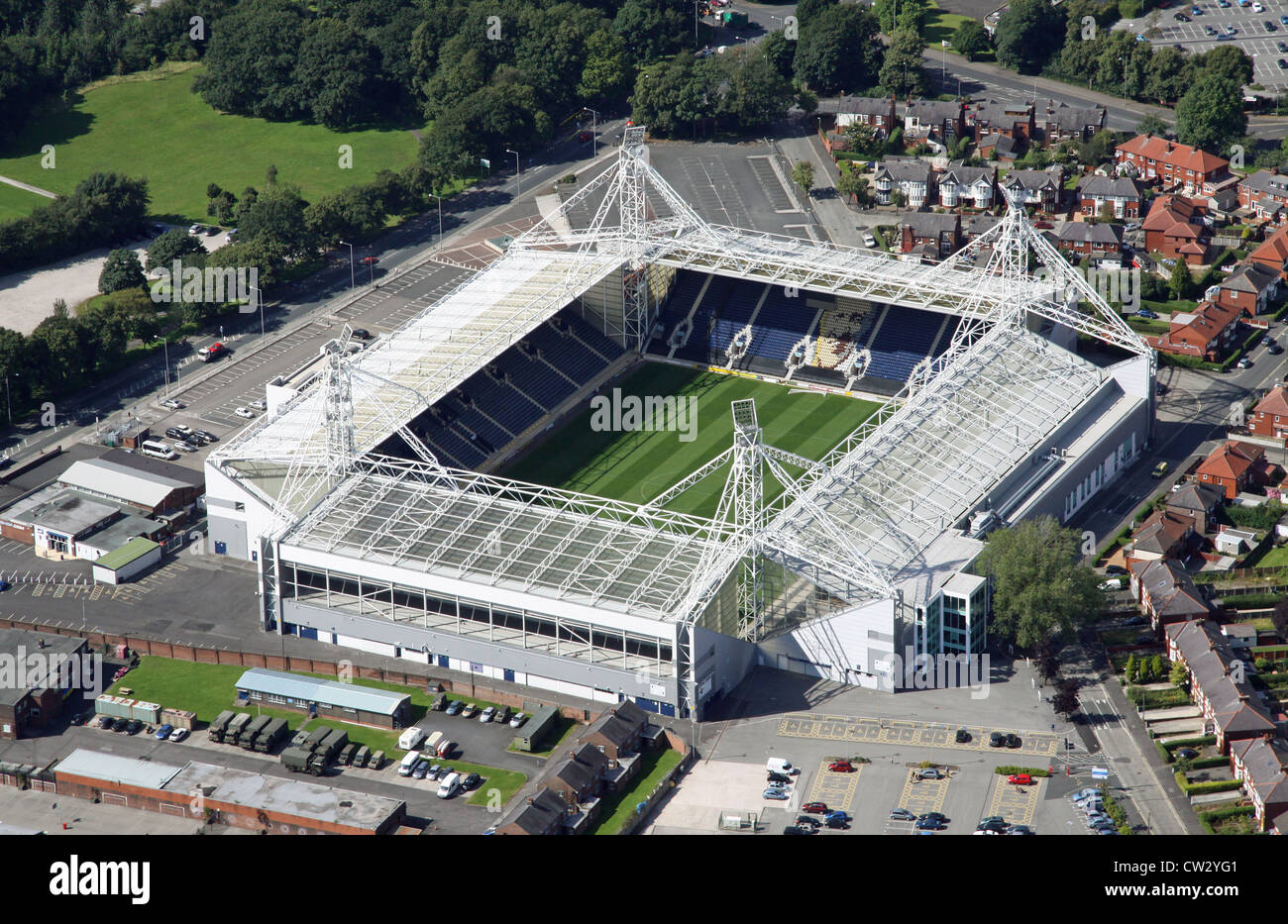 aerial view of Preston North End FC Deepdale Stadium - Stock Image