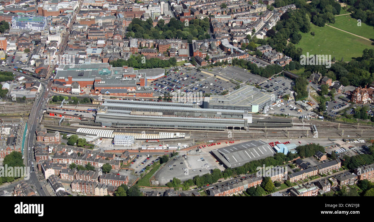 aerial view of Preston railway station in Lancashire - Stock Image