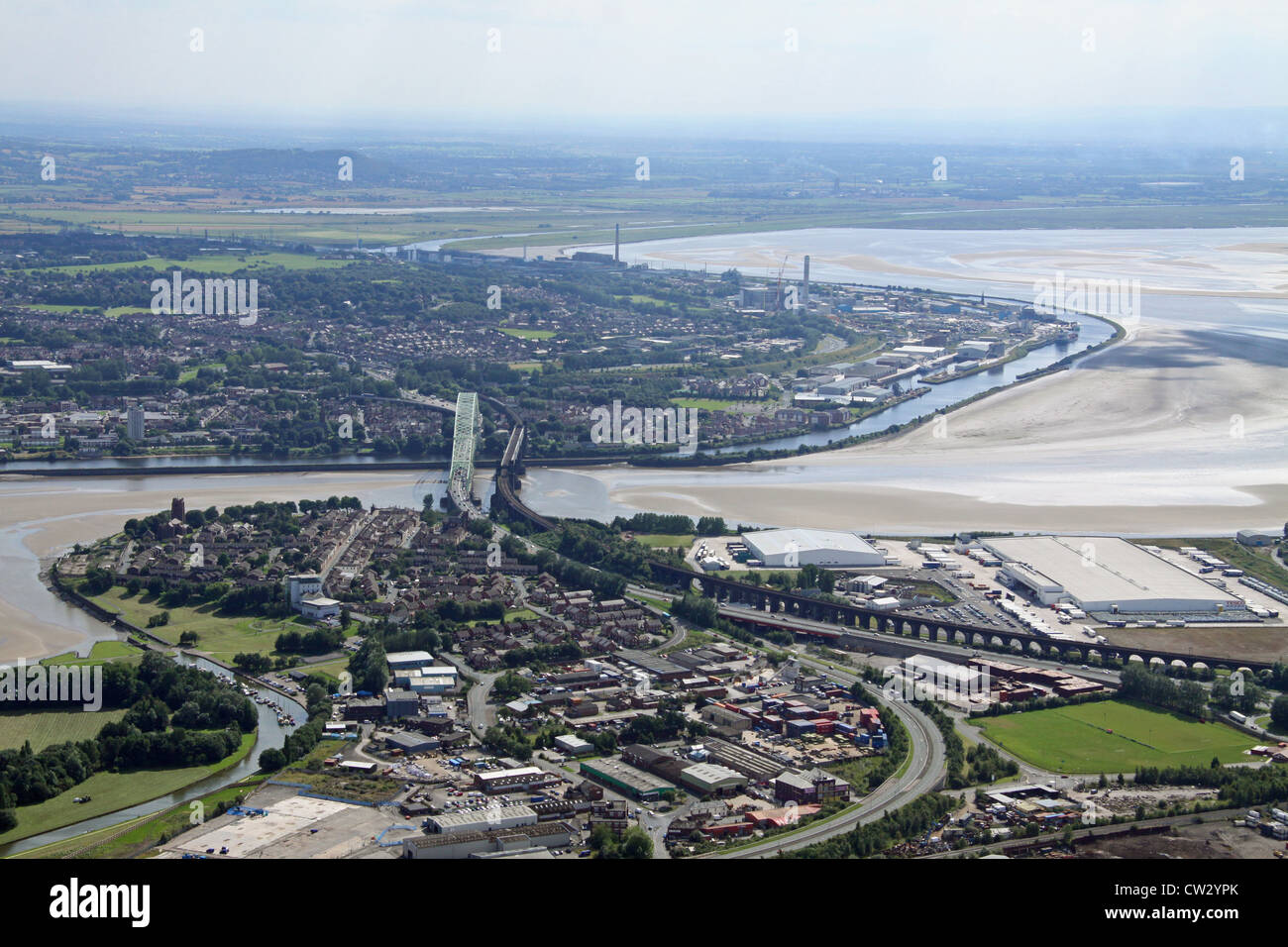 aerial view of Runcorn town from overhead Widnes on the north bank of the River Mersey - Stock Image