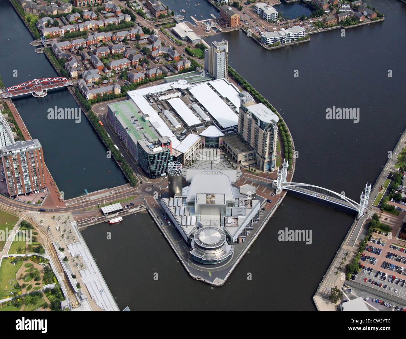 aerial view of Salford Quays, Lowry Centre, Manchester - Stock Image