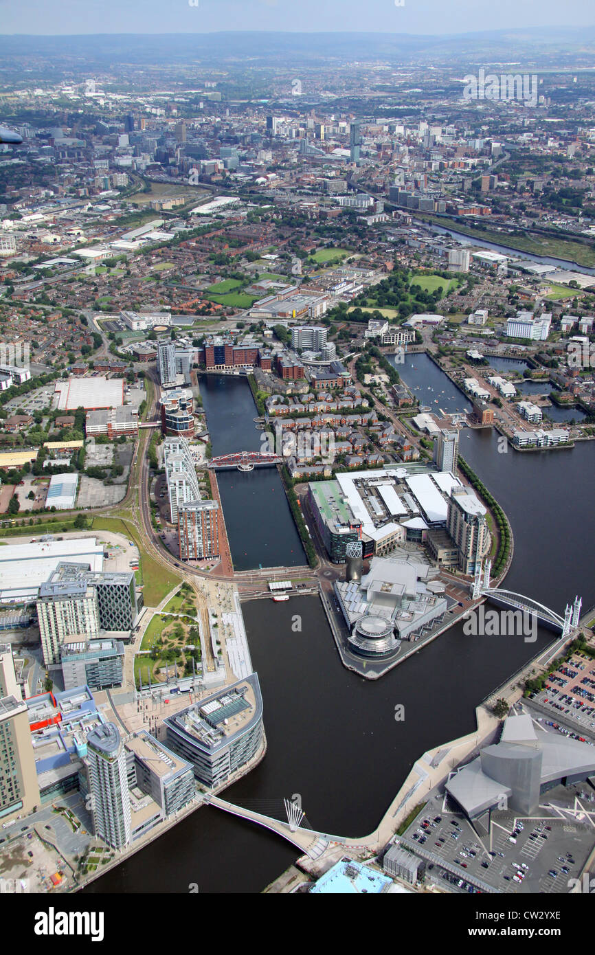 aerial view of Salford Quays, Media City and Lowry Centre, Manchester - Stock Image