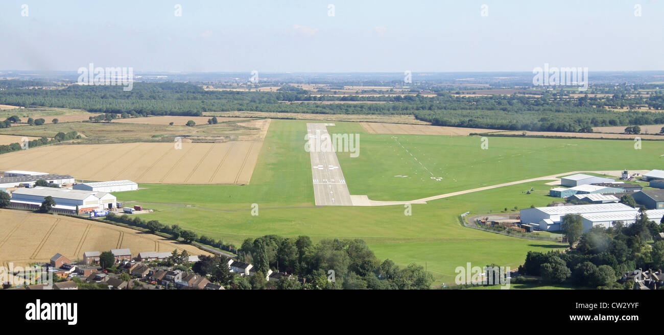 aerial view as coming into land at Sywell aerodrome, Northampton airfield - Stock Image