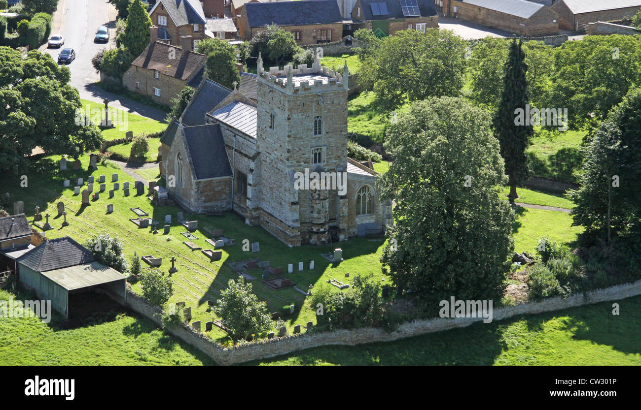 aerial view of St Peter and St Paul Church at Sywell, Northamptonshire - Stock Image