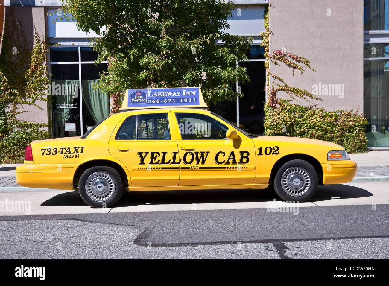 yellow cab taxi parked on street with ad for national brand