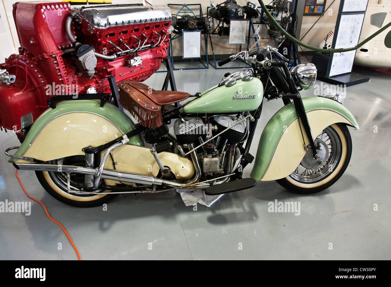 Indian Motorcycle Vintage >> two tone cream & green vintage 1940's Indian motorcycle on display at Stock Photo - Alamy