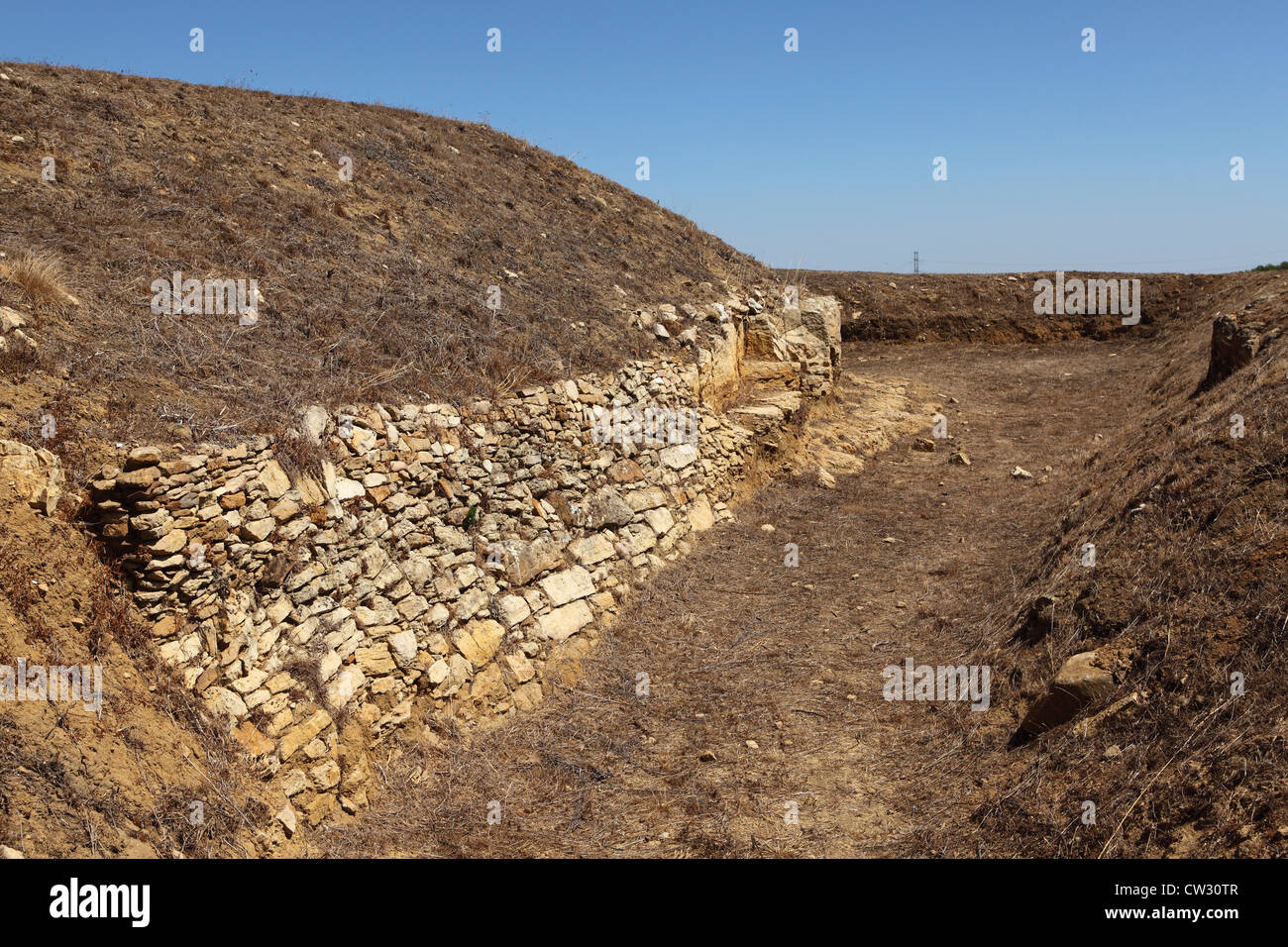 Ditch and wall at Forte do Cego, fort number 9 of the 152 forts and earthworks of the Lines of Torres Vedras - Stock Image