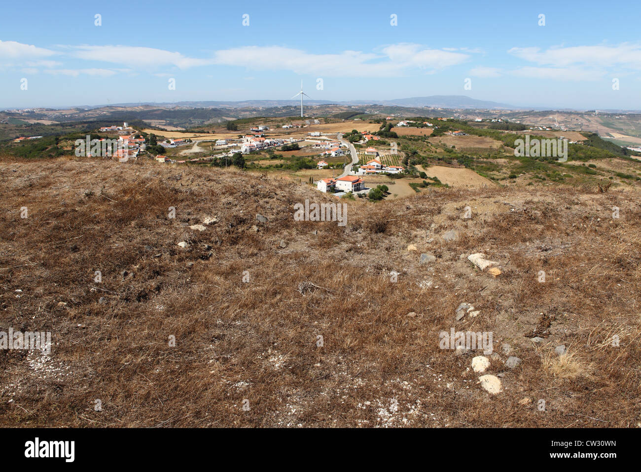 Countryside seen over the remains of the earthworks of the Lines of Torres Vedras around Lisbon, Portugal. - Stock Image