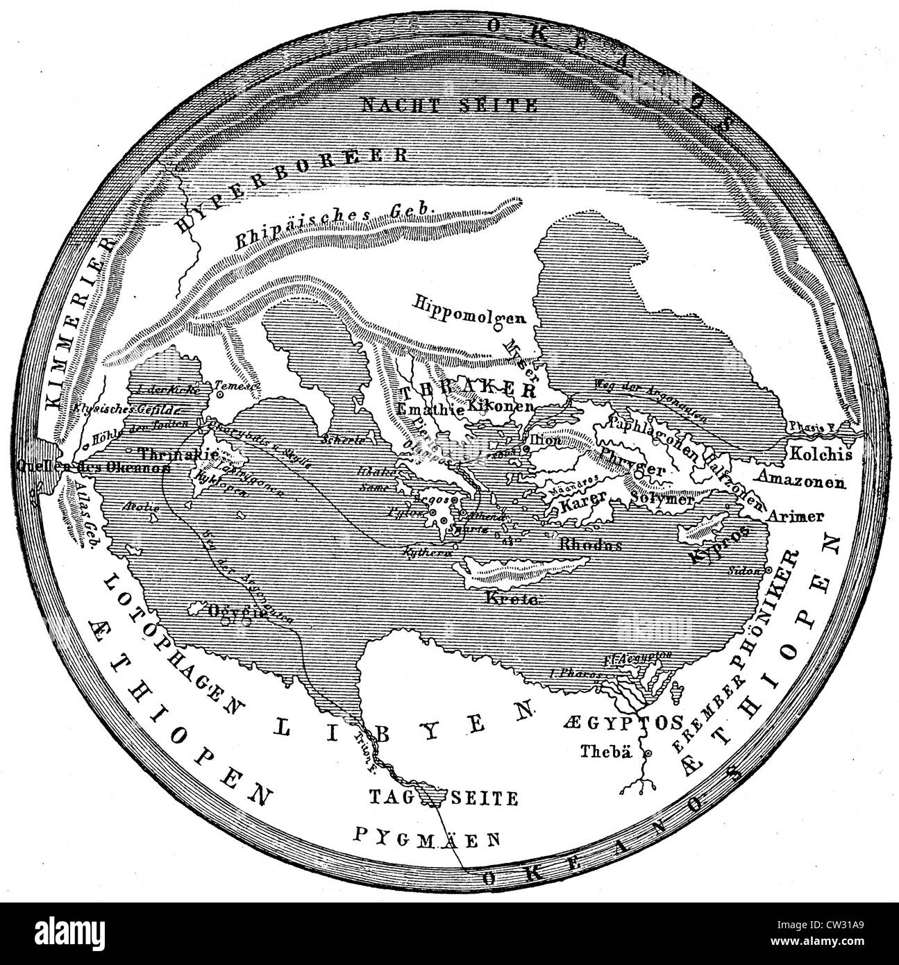 The Earth disk, according to Homer - Stock Image
