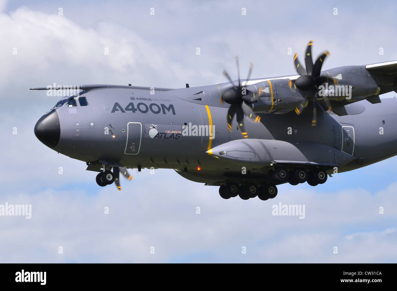 Airbus A400M Atlas turboprop transport plane on approach for landing at RAF Fairford. The A400M is built by Airbus - Stock Image
