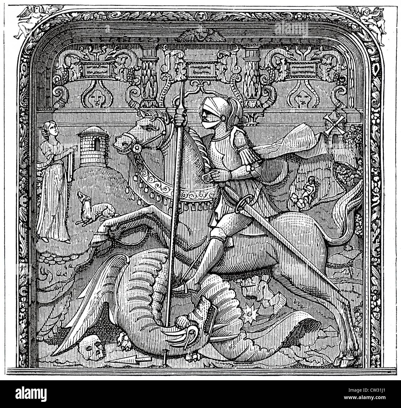 St. George the dragon slayer - Stock Image