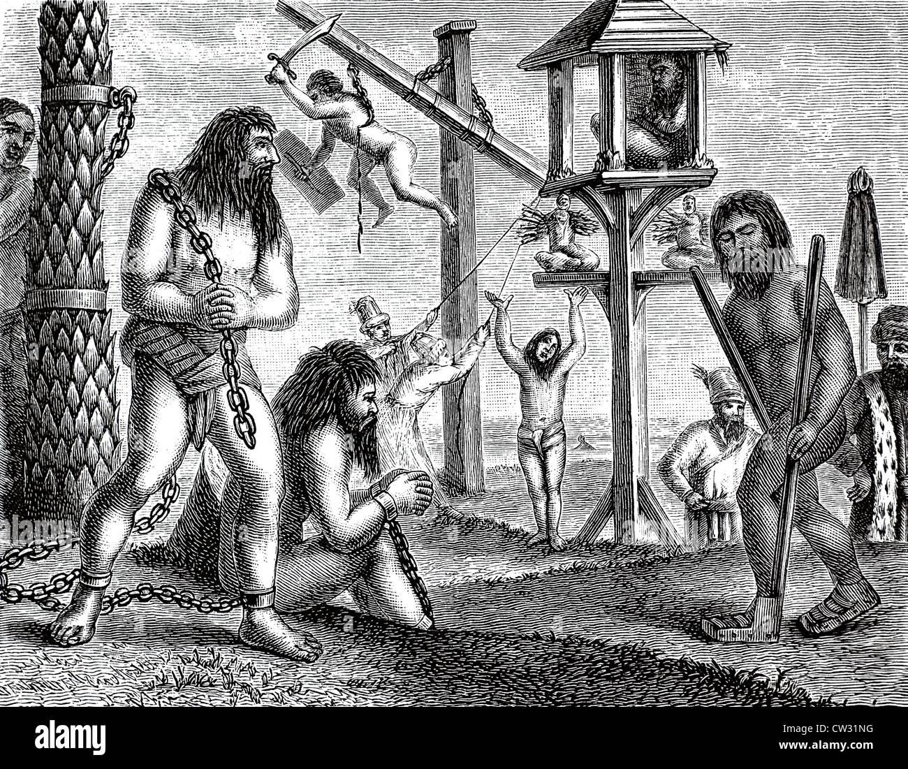 Penitent fakir and Jogins - Stock Image