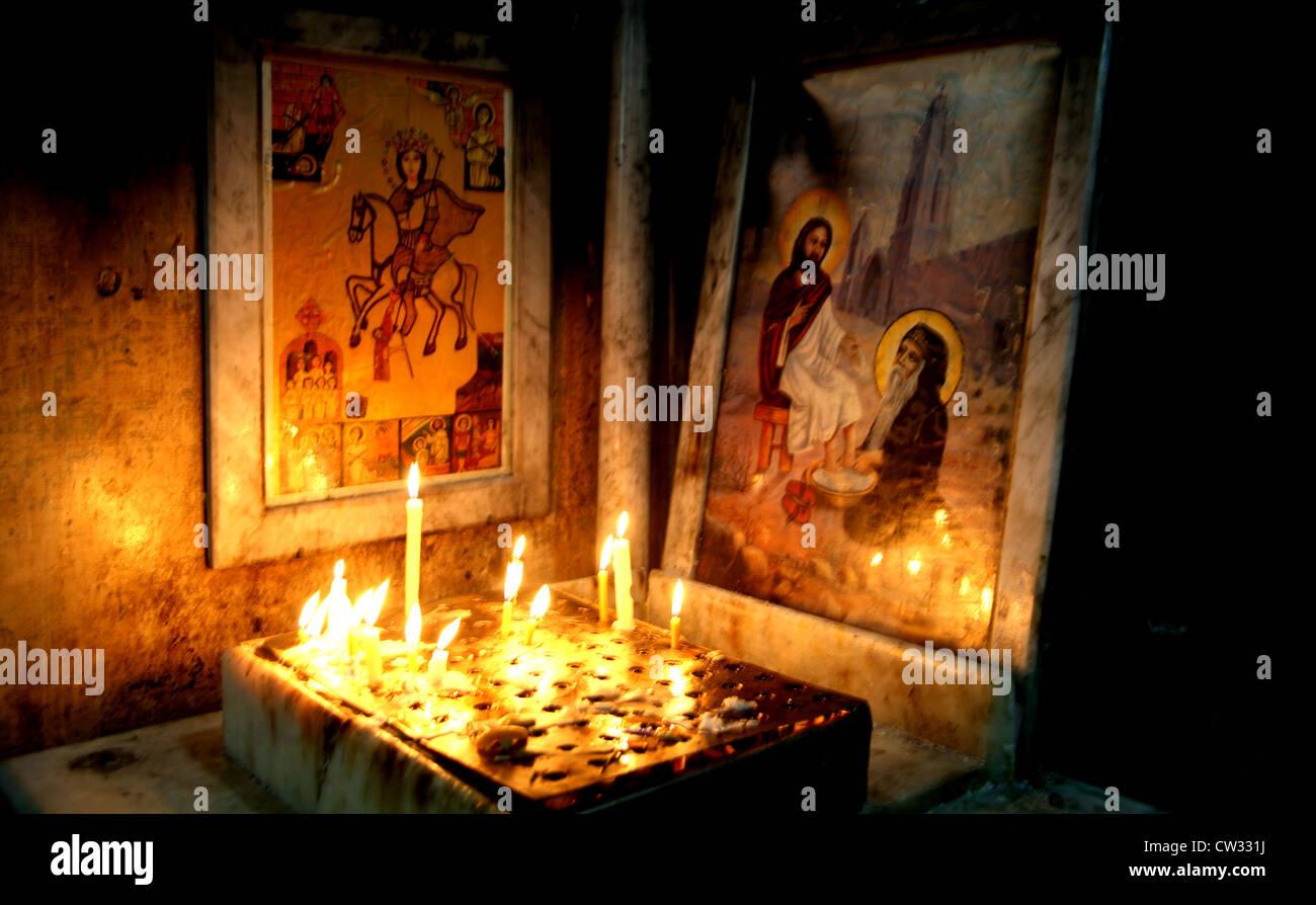 Icons of Saint Bishoi, monastery in Wadi Natrun, Egypt - Stock Image