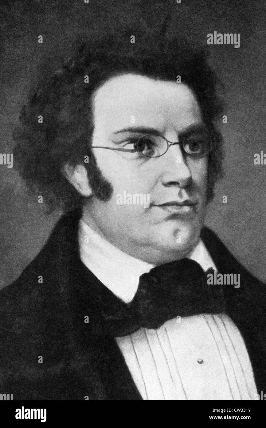 Franz Schubert (1797-1828) on engraving from 1908. Austrian composer. - Stock Image