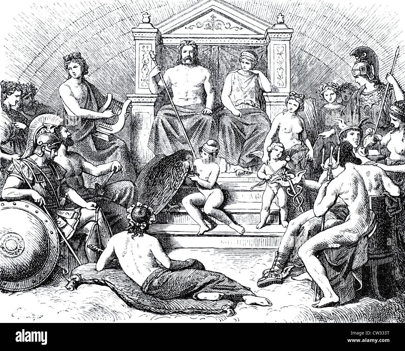 Assembly of gods on Olymp - Stock Image