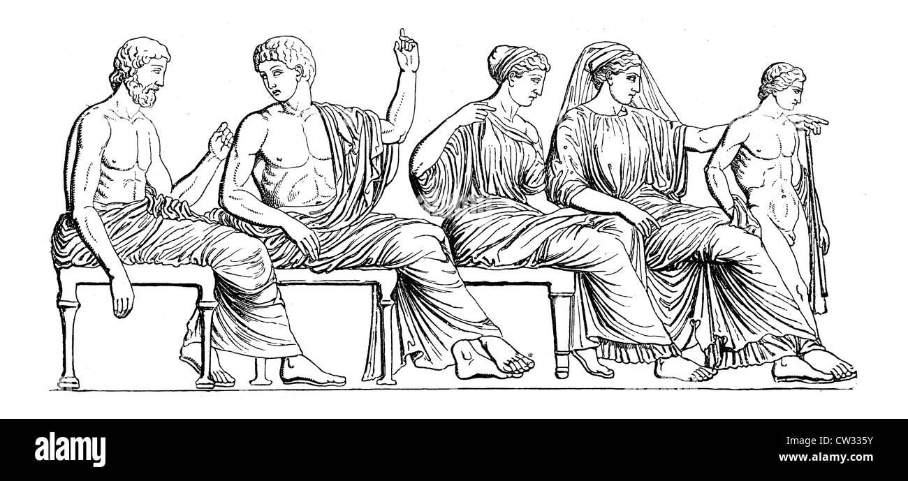 Gods group of Parthenon frieze - Stock Image