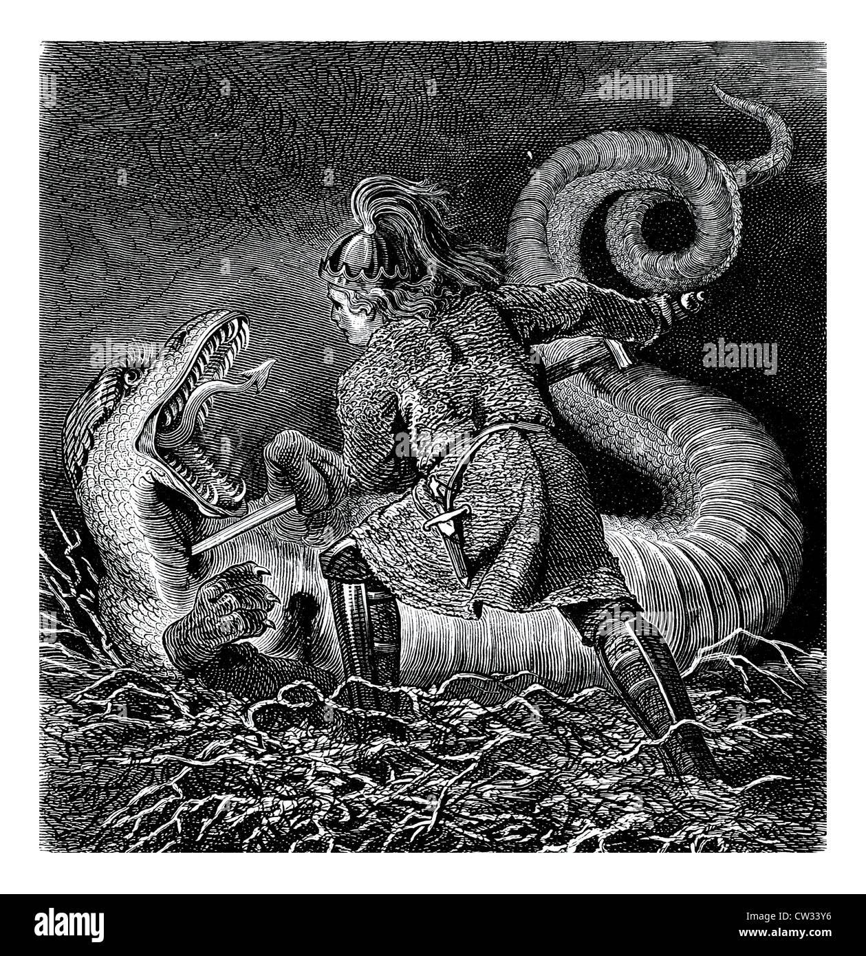 Sigurd killed the dragon - Stock Image