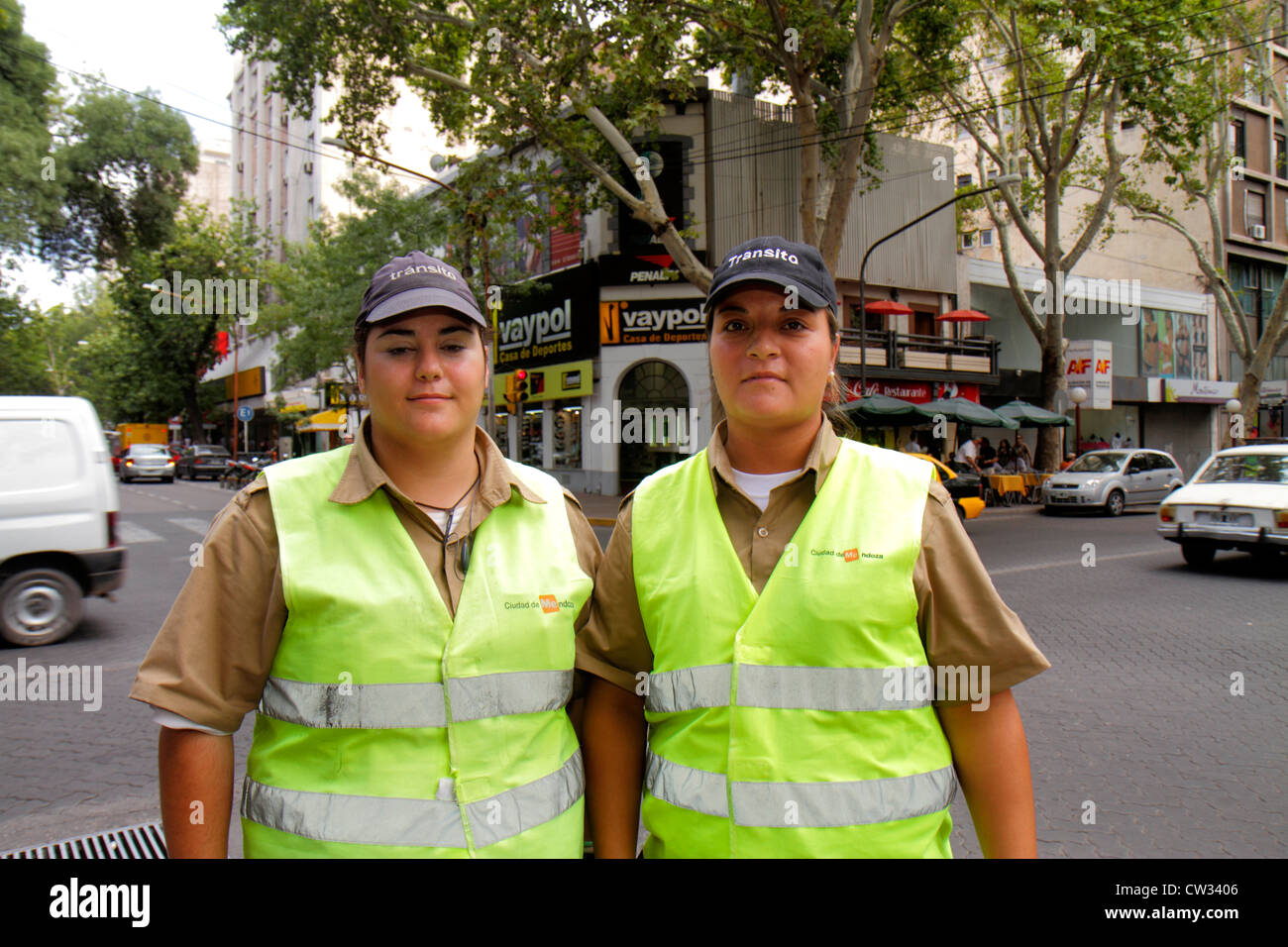 Mendoza Argentina Avenida San Martin Hispanic woman women public safety traffic agent inspector job uniform reflective - Stock Image