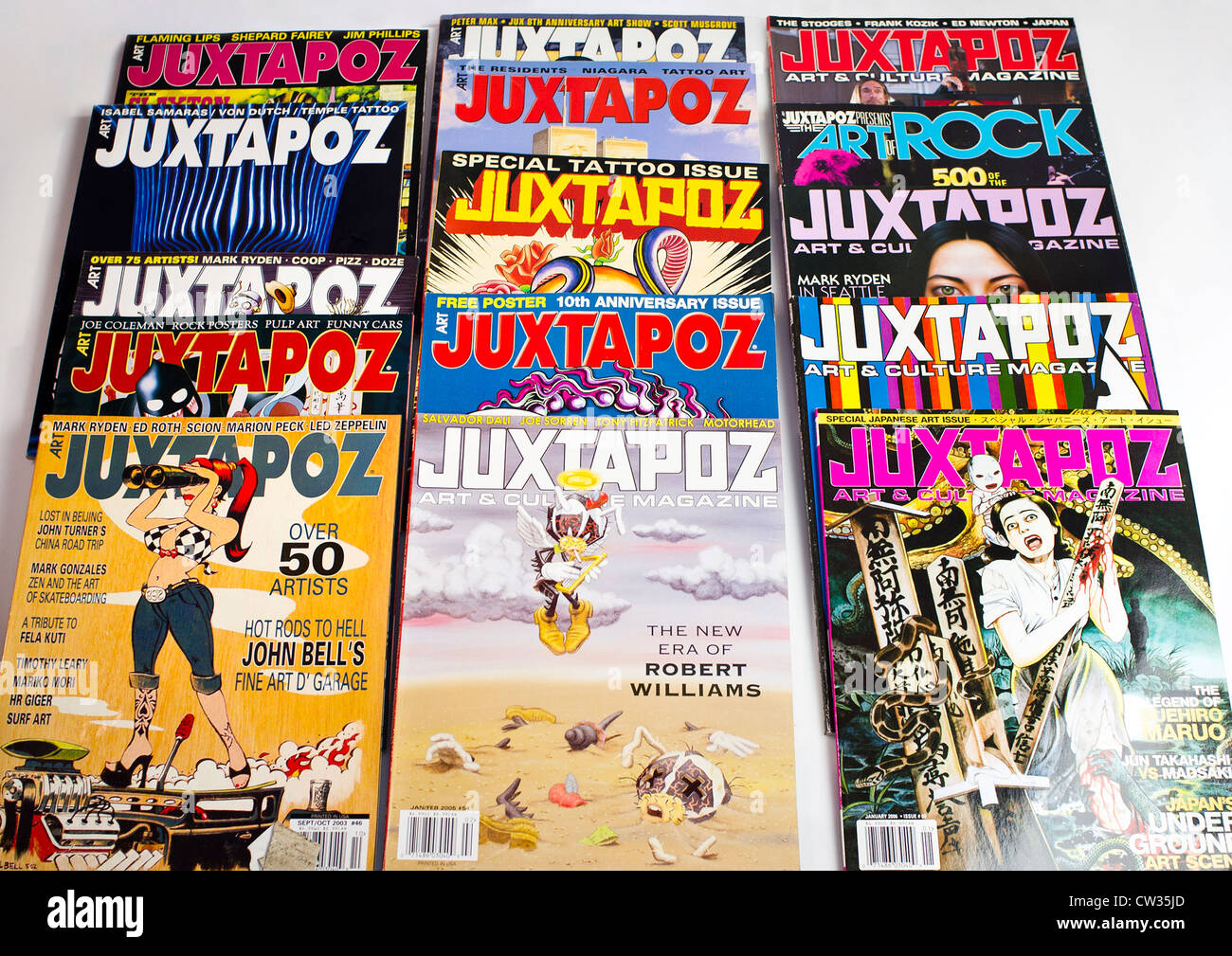 Back issues of 'Juxtapoz' Pop culture art magazine - Stock Image