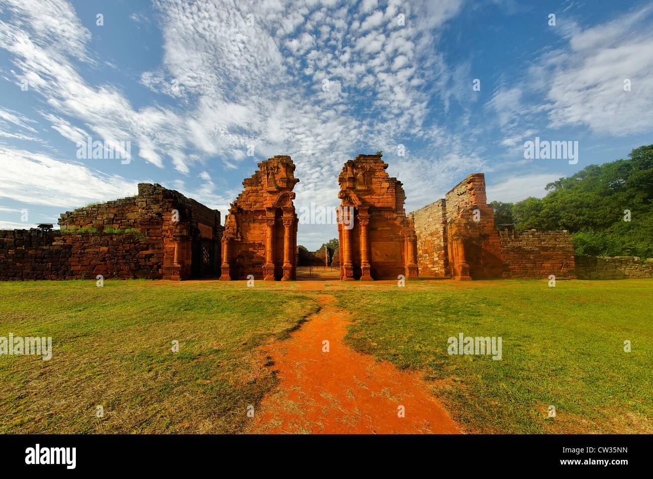 Jesuit reduction San Ignacio Mini, Misiones Province, Argentina, - Stock Image