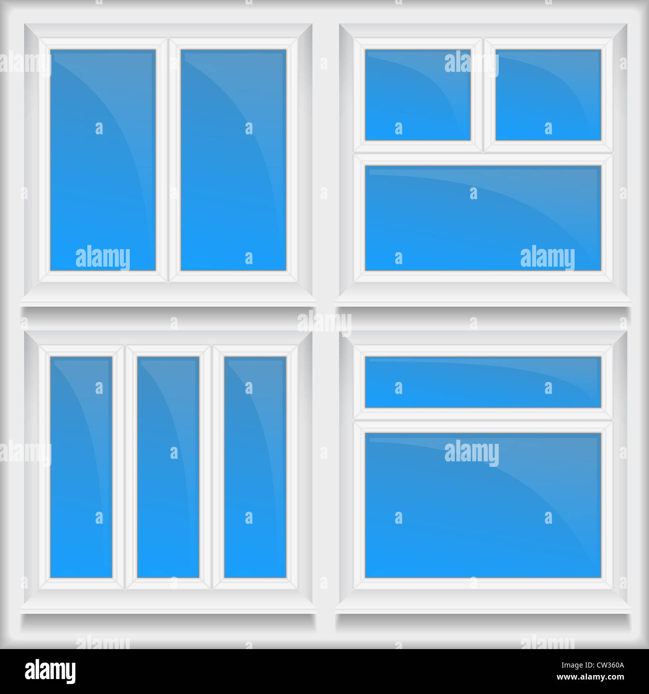 Set of windows with sills - Stock Image