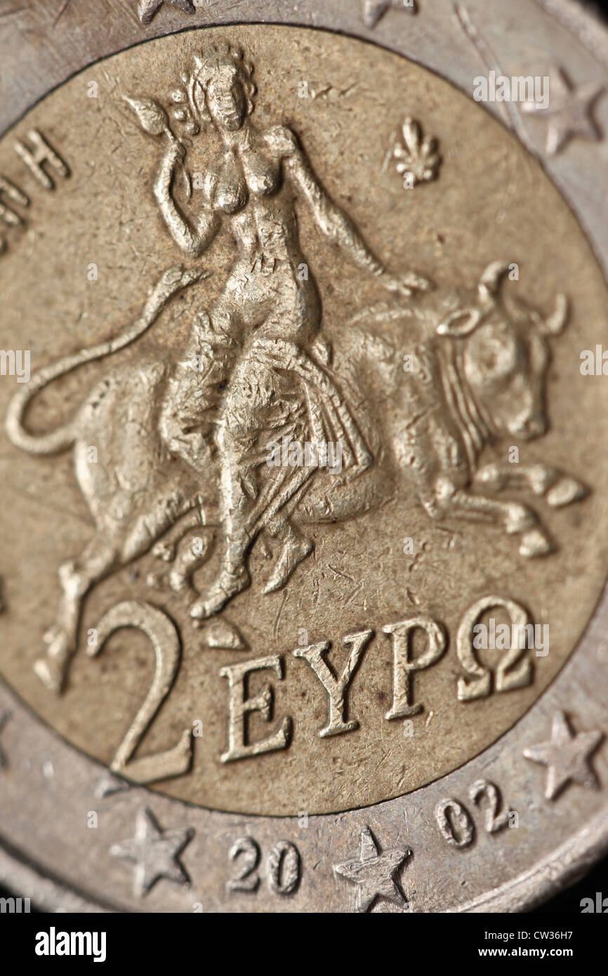 Greek Euro Coin showing scene from greek mythology Europa carried away by a bull - Stock Image