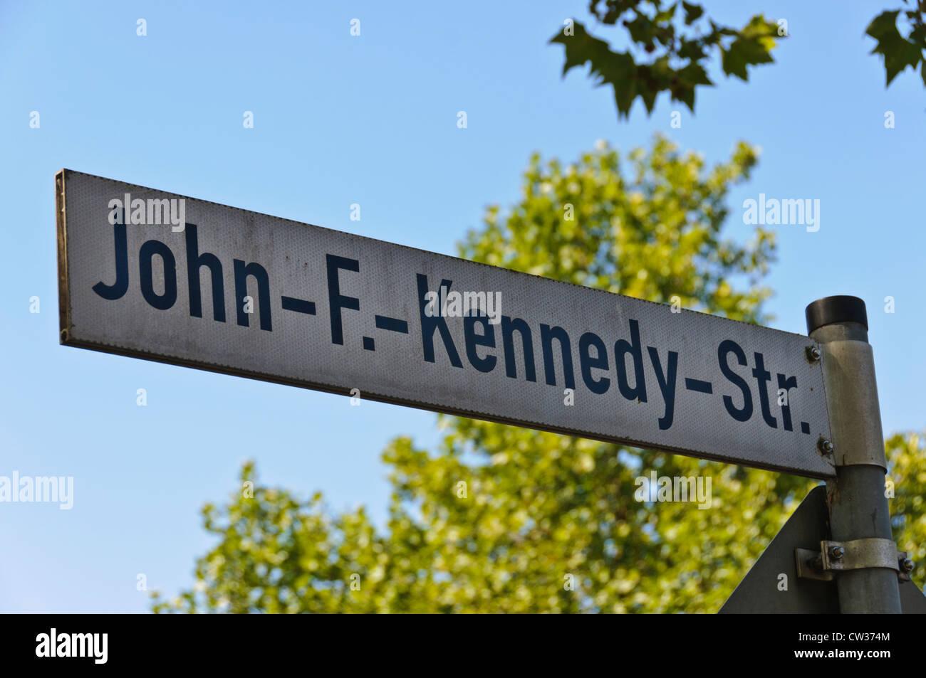 John-F.-Kennedy-Str. street sign - Heilbronn Germany Europe - Stock Image