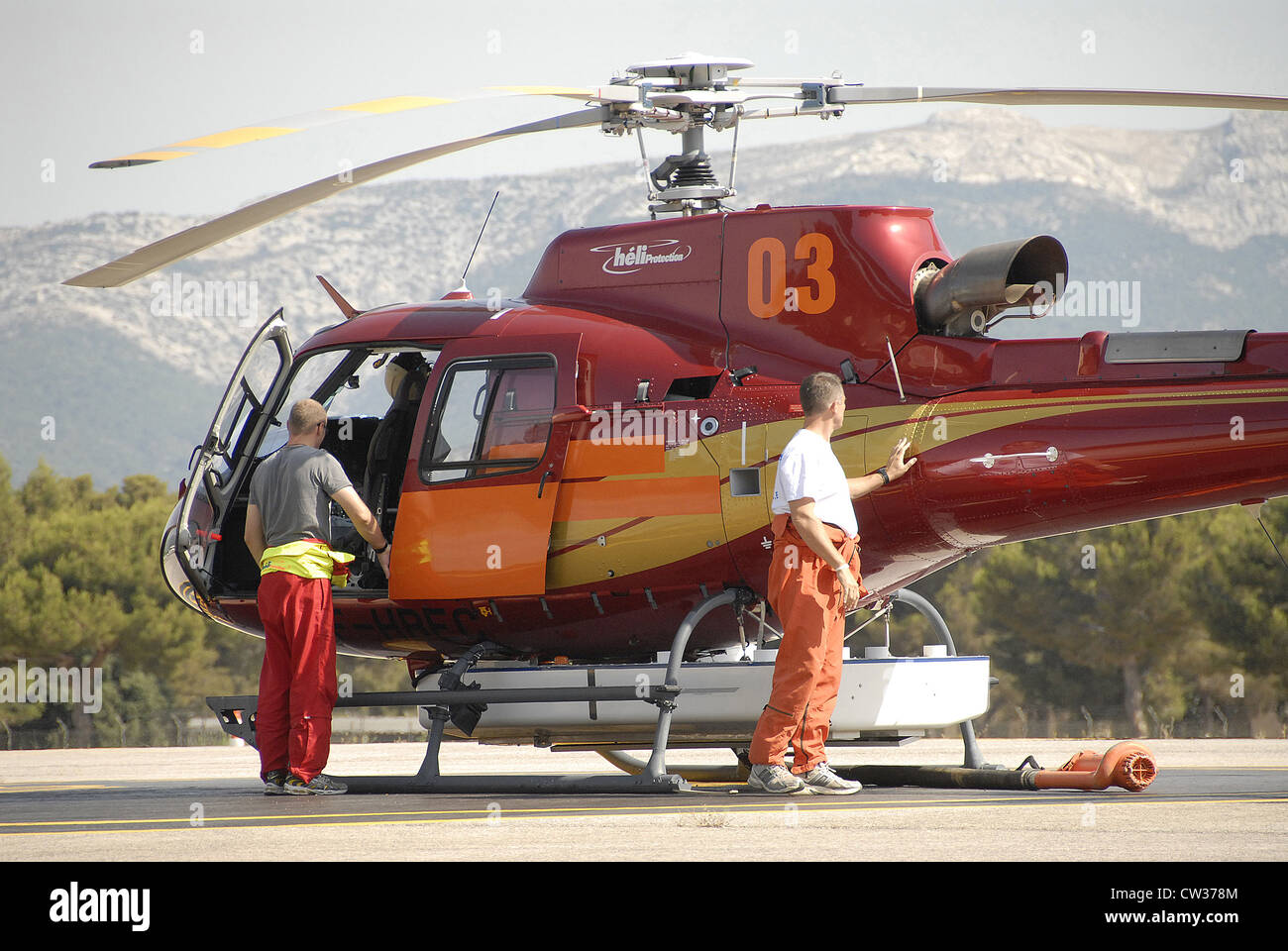 rescue helicopter Paul Ricard speedway Bouches du Rhone Provence Cote d'Azur France Europe - Stock Image