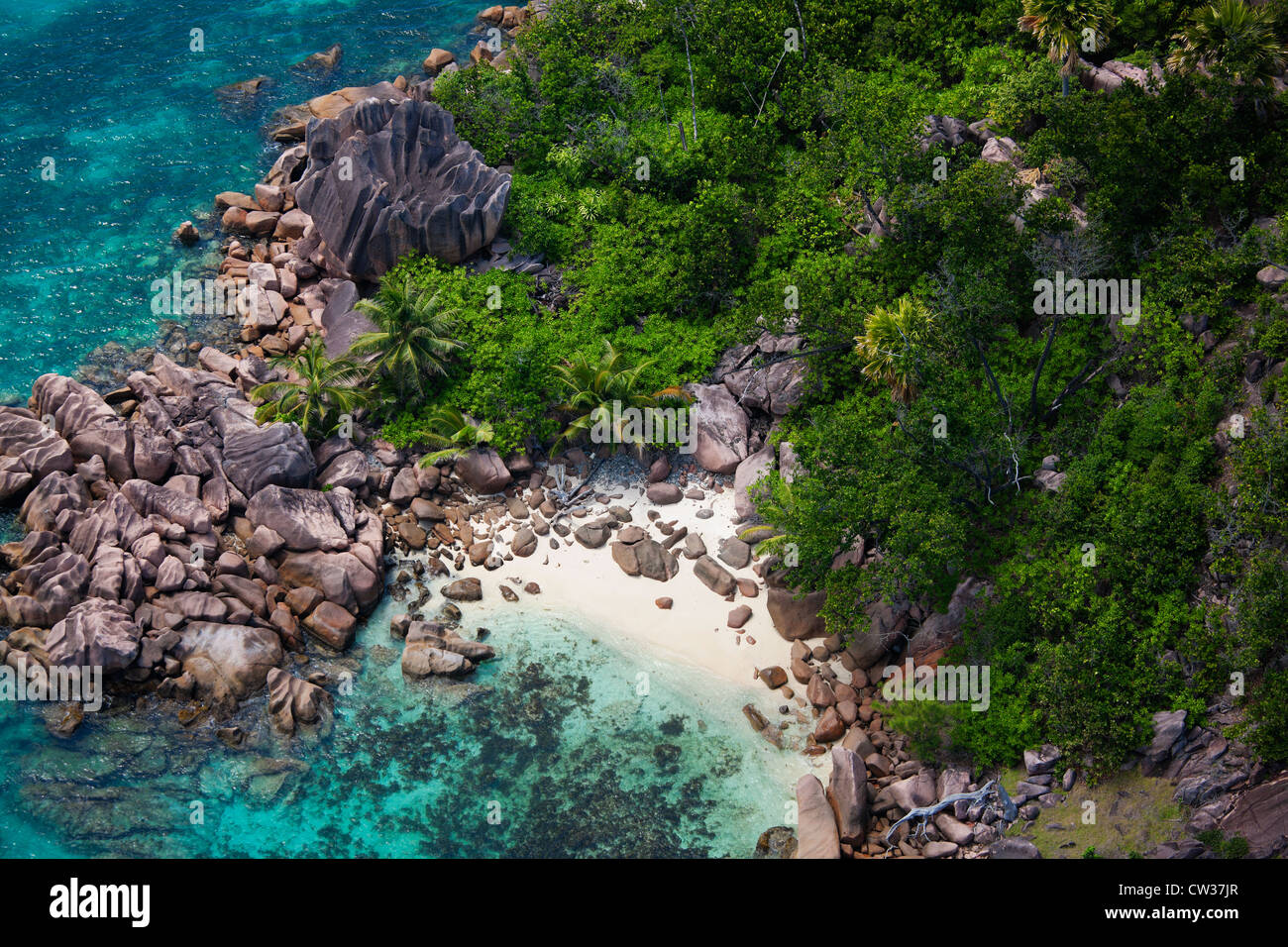 Aerial view of a secluded beach, coast of Praslin.Seychelles - Stock Image