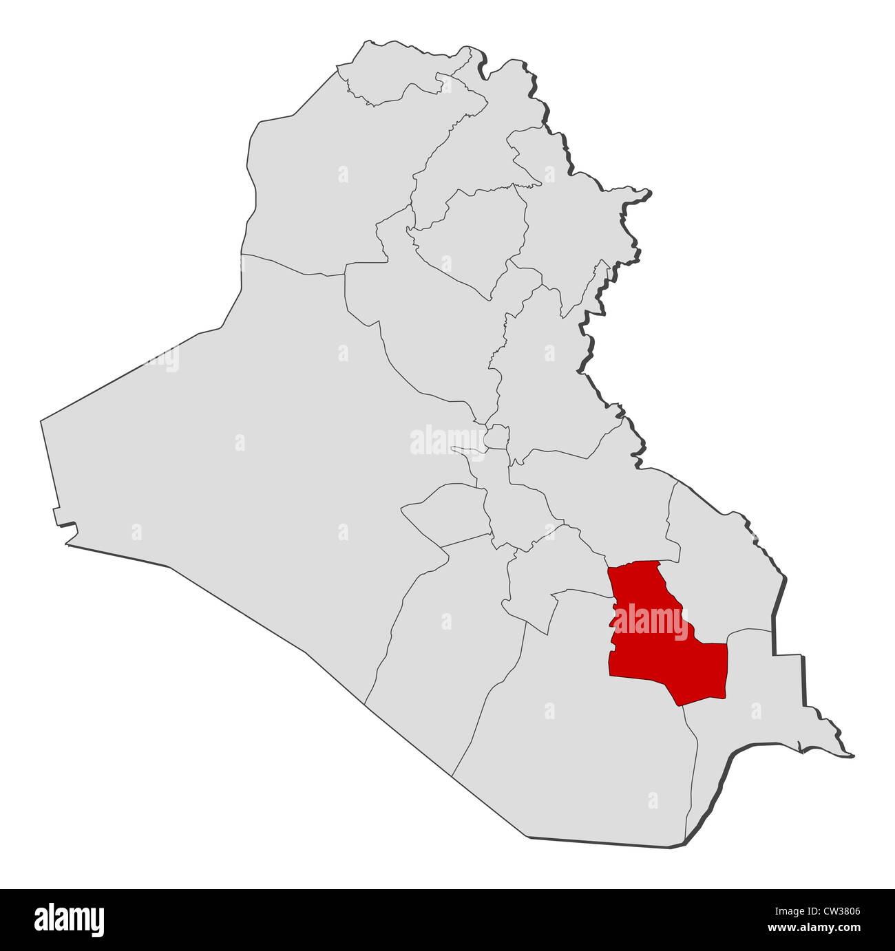 Political map of Iraq with the several governorates where Dhi Qar is