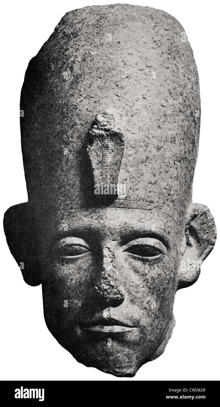Head of a colossal statue, Senwosret III. - Stock Image