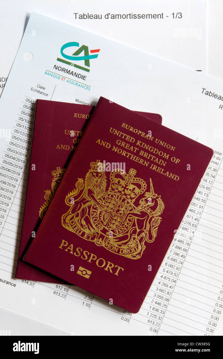 British passports laying on a mortgage repayment schedule. - Stock Image