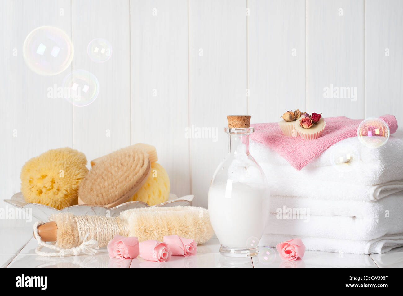 Luxury bathroom spa products with bubbles Stock Photo: 49860287 - Alamy