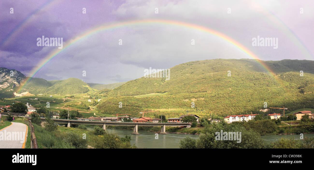 Double rainbow over San Michele, Trentino-Alto Adige, Italy - Stock Image