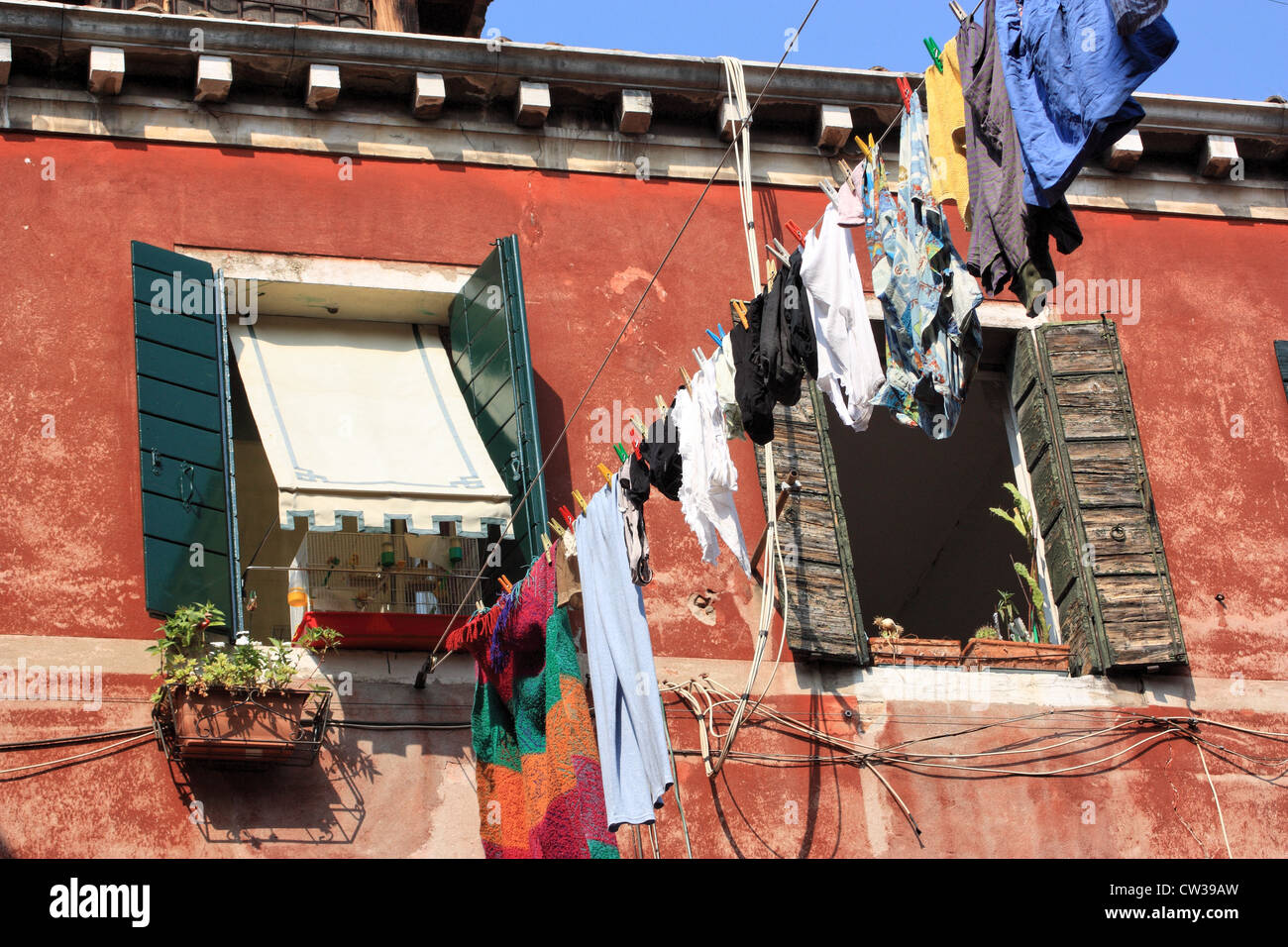 Clothesline Italy - Stock Image
