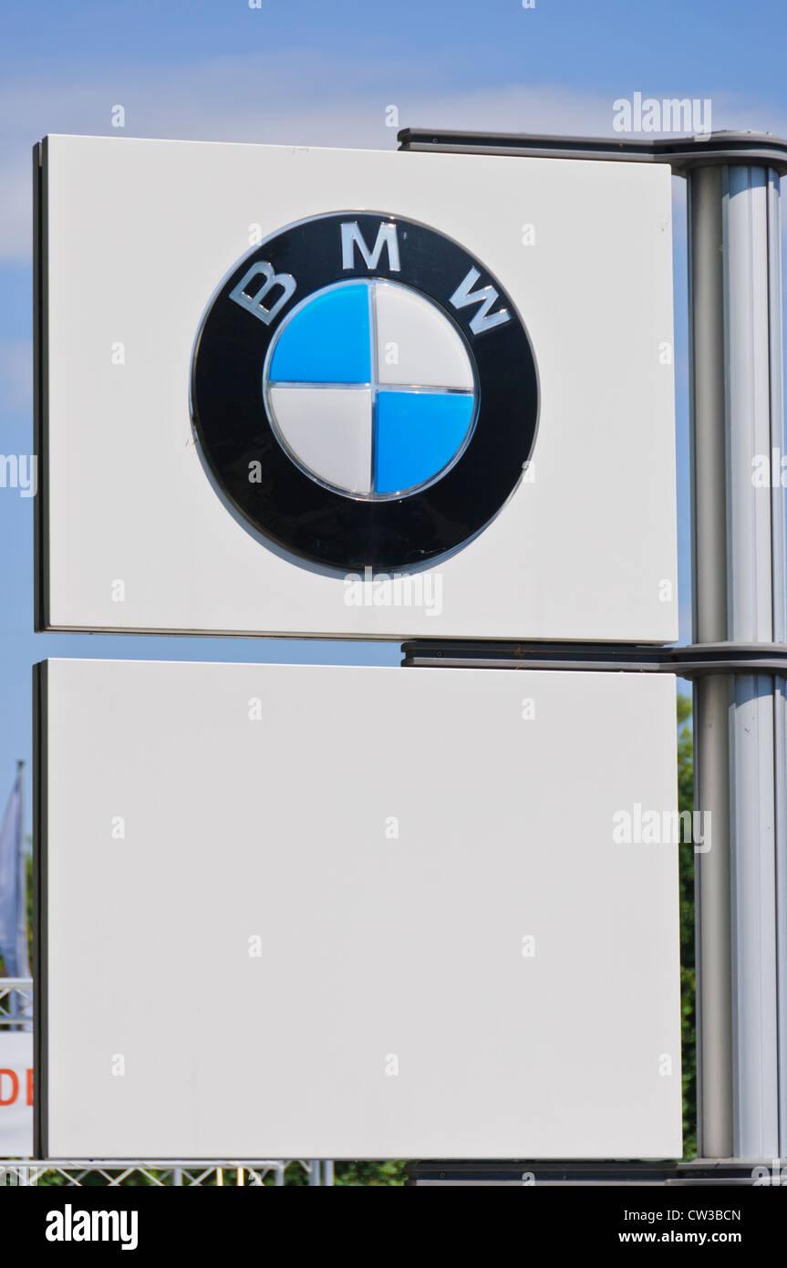 BMW Company Logo Street Sign - Heilbronn Germany Europe - Stock Image