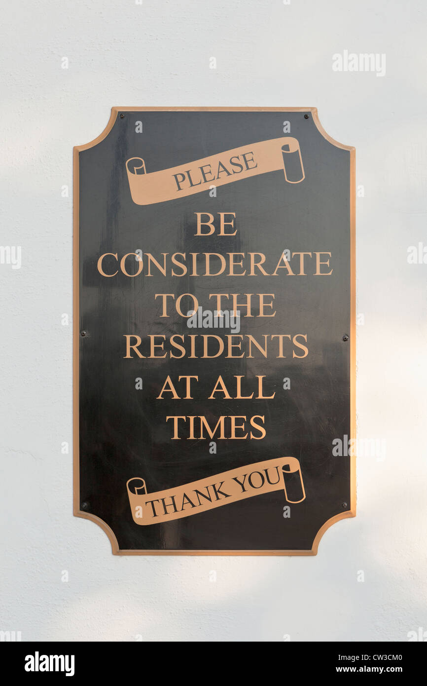 Be considerate to residents pub bar sign, London, UK - Stock Image