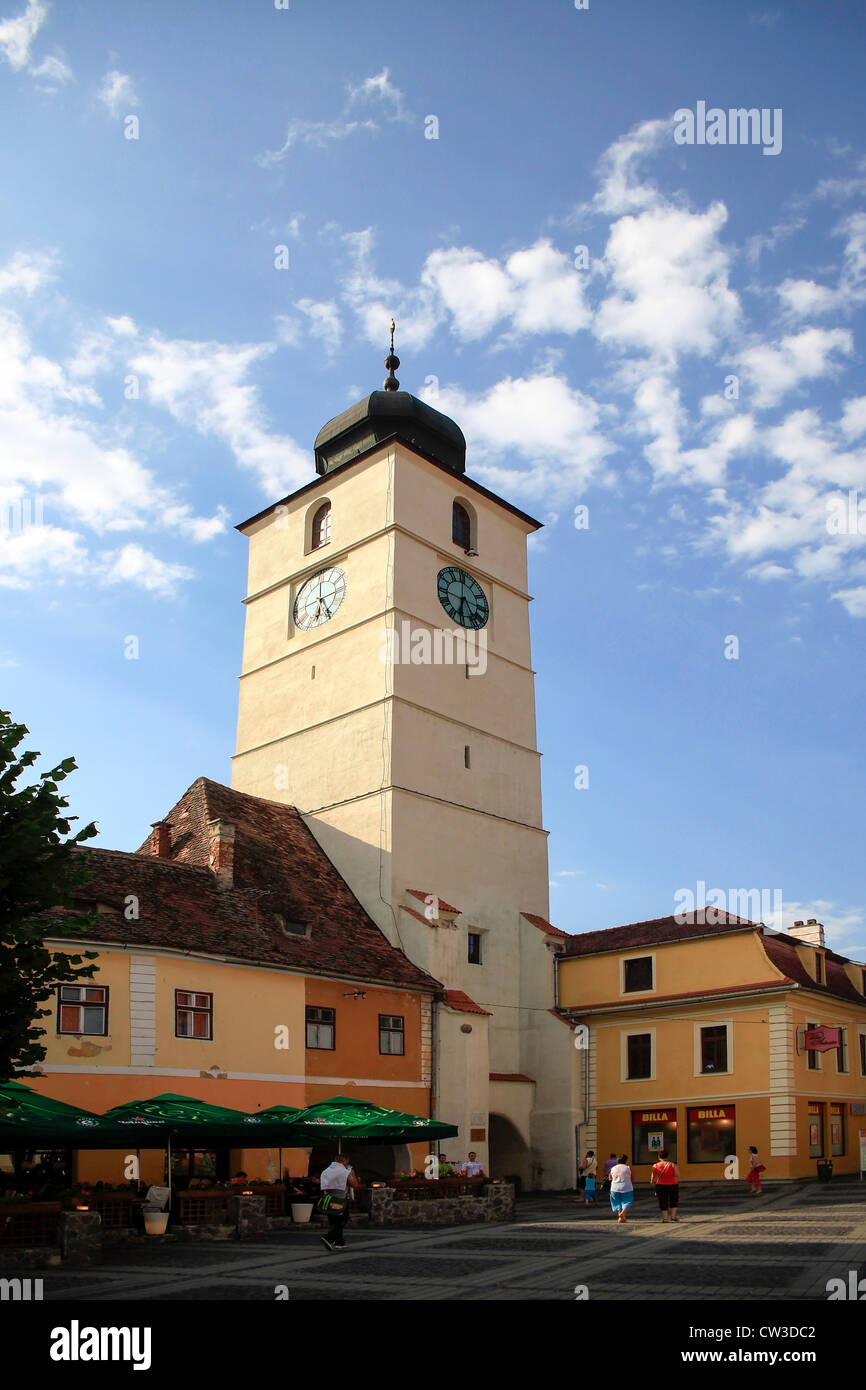 The bell tower at Mare square, Sibiu, Transylvania, Romania - Stock Image