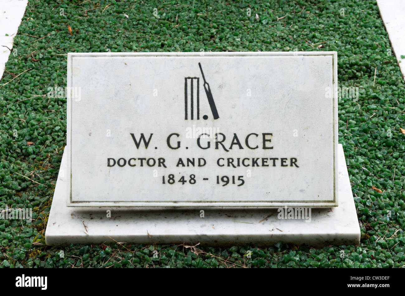 The grave of W G Grace, Doctor and Cricketer in Beckenham Cemetery, South London. - Stock Image