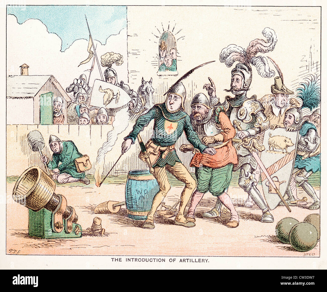 Comic Sketch by T S Seccombe showing the introduction of artillery in the middle ages - Stock Image