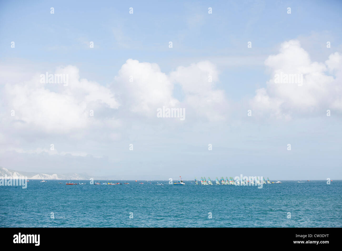 49er dinghies racing during the Olympic sailing regatta in Weymouth and Portland - Stock Image