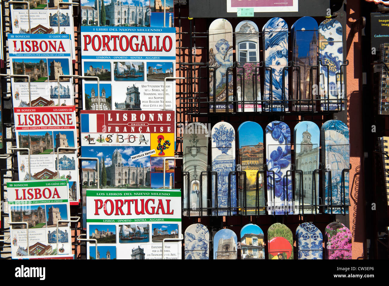 Guide books and book markers on display at tourist shop, Lisbon, Portugal. - Stock Image