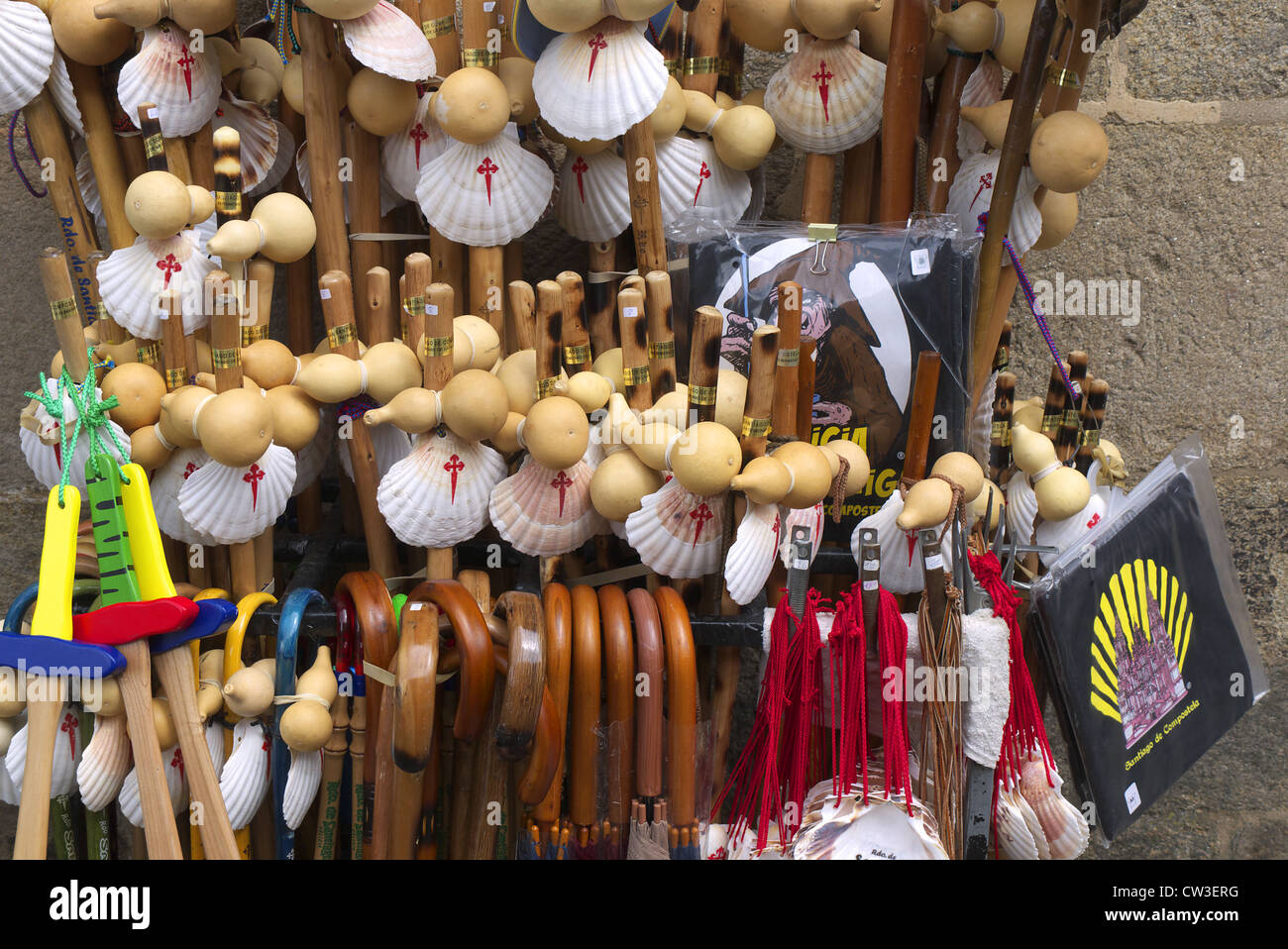 Walking sticks and shells for sale along the pilgrim route to Santiago de Compostela in Spain. - Stock Image