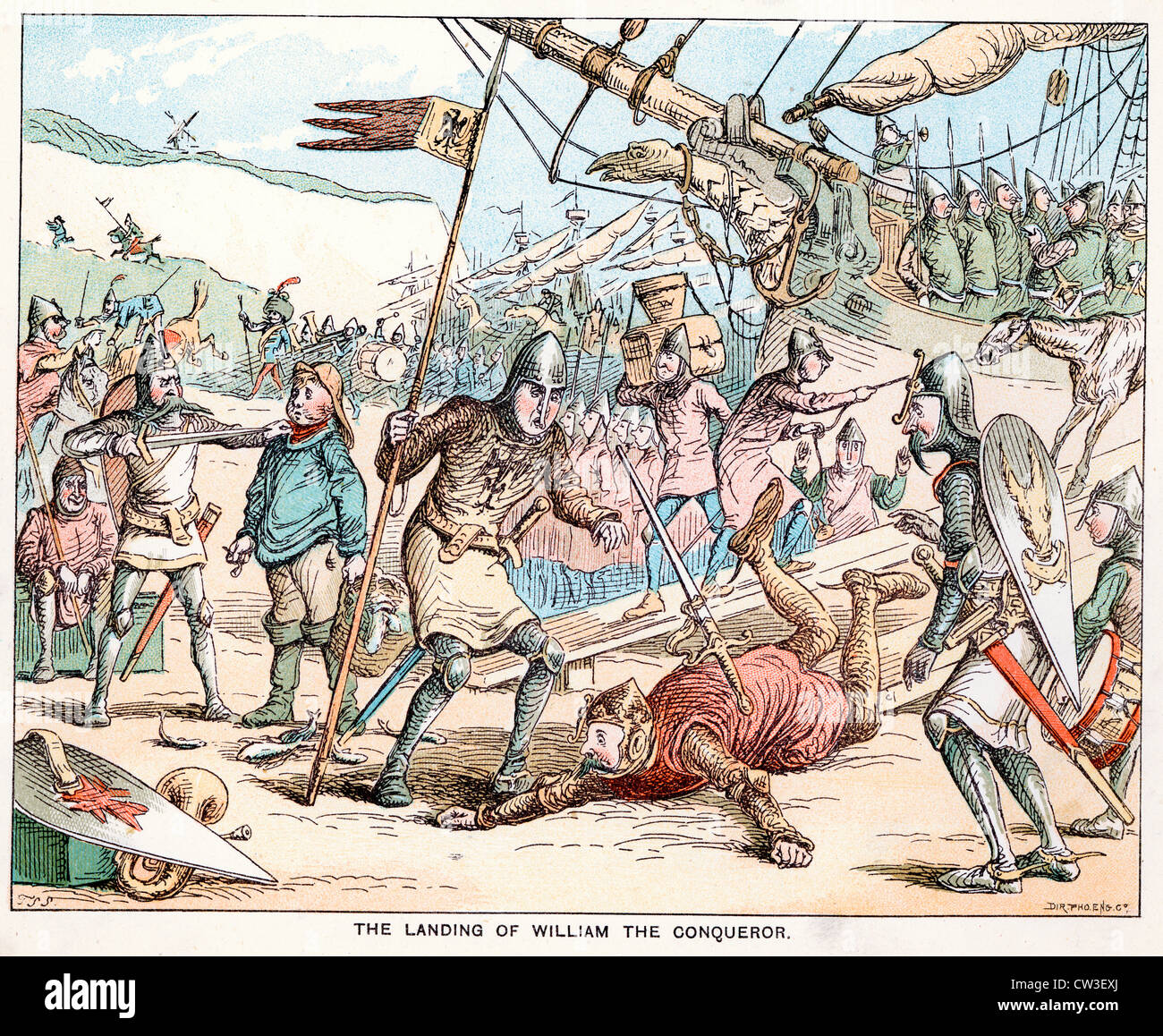 Comic Sketch by T S Seccombe showing The landing of William the Conqueror in 1066 - Stock Image