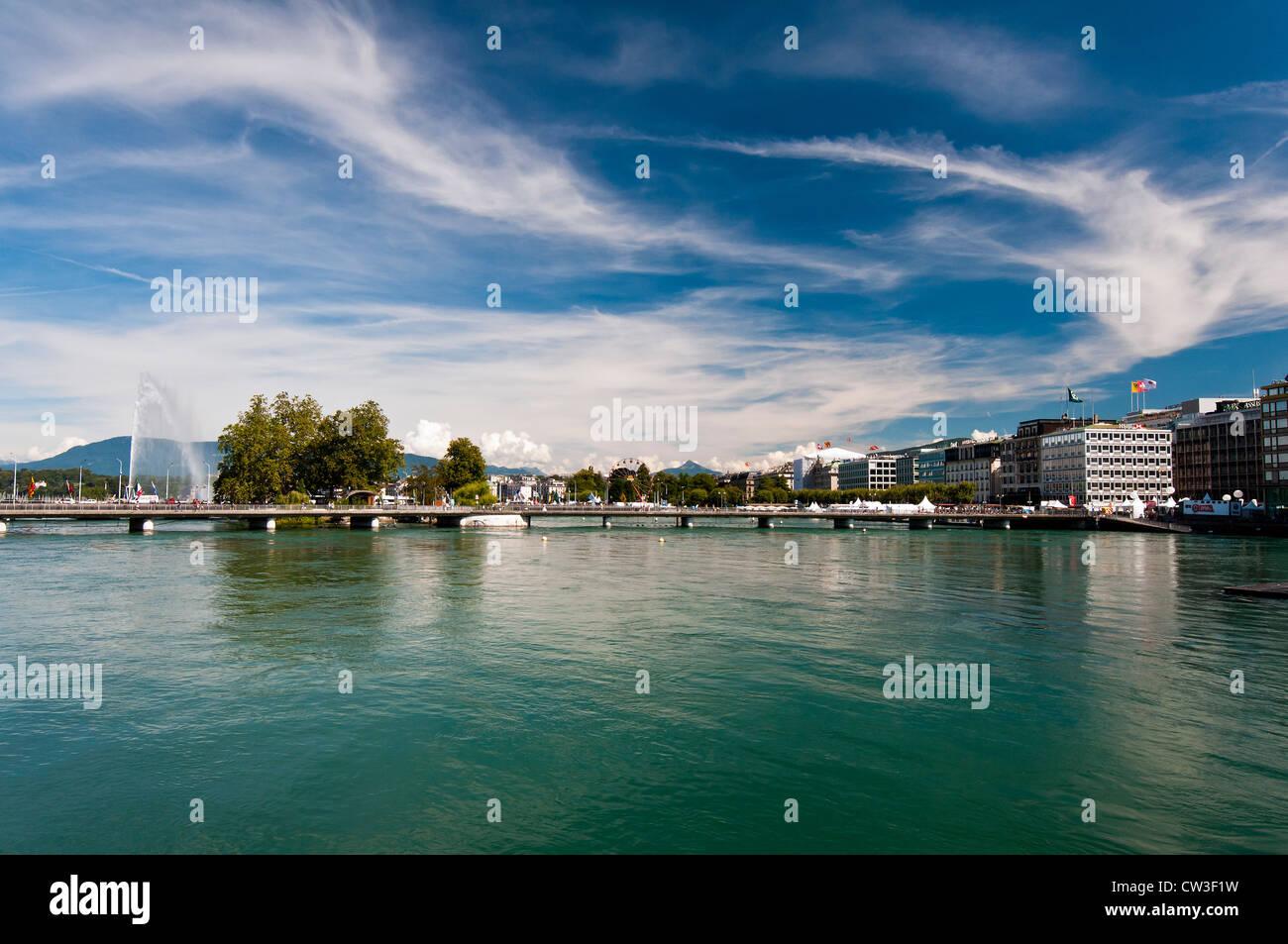 Panoramic view of Geneva, Switzerland with Jet d'Eau fountain - Stock Image