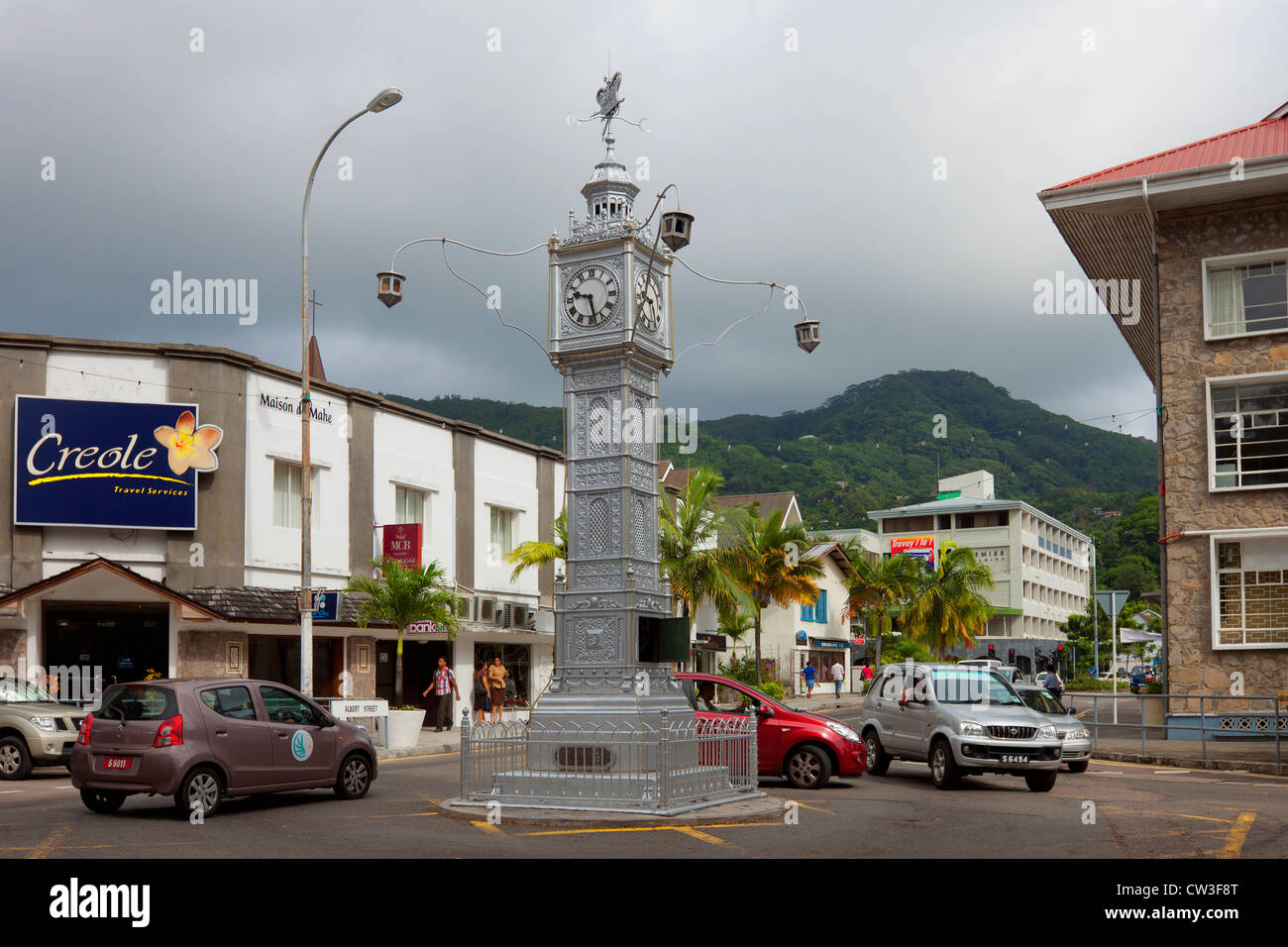 A clock tower in Victoria,Mahe,Seychelles - Stock Image